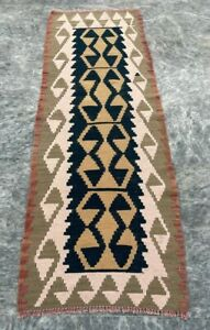 Old Handmade Turkish Kilim Runner Rug Oriental Wool Kilim Runner Rug 165x56 cm