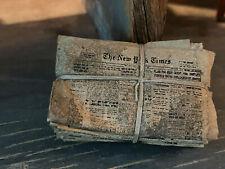 Vintage Miniature Dollhouse Artisan Halloween Distressed Tied Bundle Newspapers