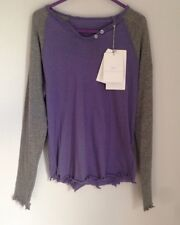 Zadig & Voltaire Raglan Sleeve Distressed Top Size 4-5-6 Years Purple /Grey BNWT