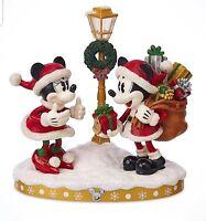 Disney Parks Mickey Minnie Santa Holiday Turn Of The Century Light Up Figurine
