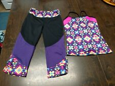 NWOT Circo Black Purple Multi-Colored Tank Top And Leggings Set Size Girl's 7/8