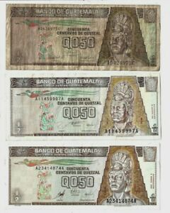 Guatemala ✨ 1992 1996 1998 ✨ 1/2 Quetzal x 3 ✨ Collections & Lots #1327