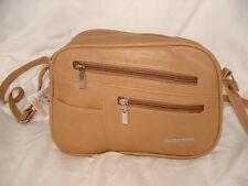 Faux Leather Zip Top Handbag Adjustable Shoulder Strap Soft Tan