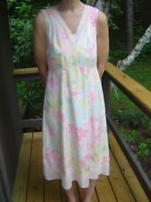 SUSAN BRISTOL Lined 2 Pc Dress Pink Yellow Floral Knit Sweater All Silk Size 6 S
