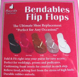 Hounds Bendable Flip Flops Purse Draw String Bag 5/6 SILVER 7/8 HOT PINK Sandal
