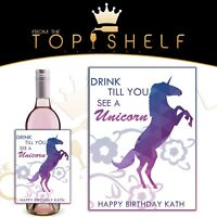 personalised wine champagne prosecco unicorn bottle label birthday any occasion