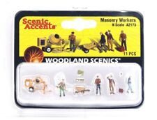 N Scale Woodland Scenics A2173 Masonry Workers w/Cement Mixer Figures (11) pcs
