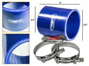"""2.5"""" Silicone Hose/Pipe Straight Coupler BLUE +T-Bolt Clamp For Mercedes Benz"""
