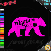 MOMMA MAMA BEAR Version 2 Cute Car Window Easy PEEL N' STICK DECAL VINYL STICKER