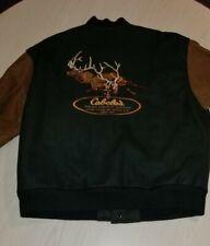 Cabelas Green Leather Sleeves Varsity Jacket Mens L Embroidered Bucks Deer Back