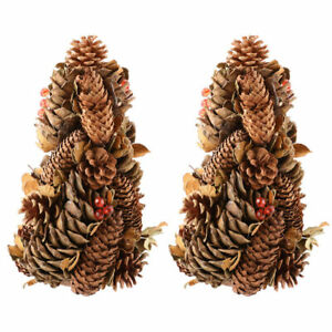 Set 2 Standing Artificial Christmas Tree Mixed Berry Pine Cone Table Decoration