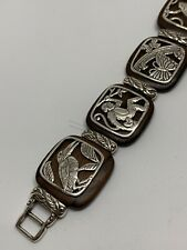 BRIGHTON Pura Vida Wood And Silver Bracelet. Rare With Monkey, Frog, Butterfly