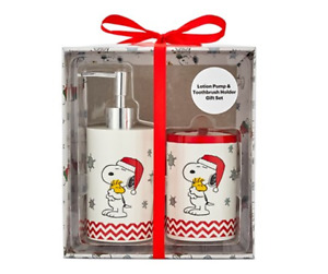 Brand New - Peanuts Snoopy Soap Pump And Toothbrush Holder Gift Set