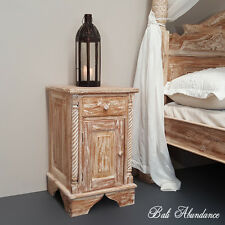 Balinese Hand Carved Classic Teak Whitewash Bedside Cupboard Lamp Side Table