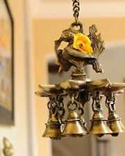 Indian  decorative brass item Hanging Peacock lamp with 9 lamps and 9 bells