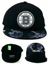 Boston Bruins Reebok New Floral Flowers Black White Era Flex Fitted Hat Cap S/M