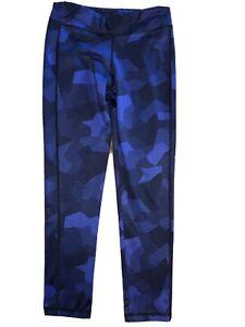Old Navy Active Athletic Leggings Girls Size Large 10/12 Blue & Black EUC