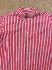 Men's Ralph Lauren Large-XL Ellington Red Striped Long Sleeve Shirt Superb