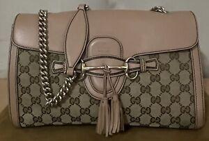 Authentic Gucci Emily Brown Monogram GG Canvas Beige Medium Chain Shoulder Bag
