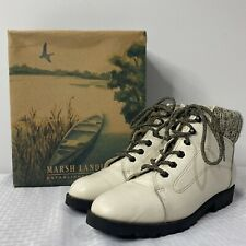 VTG Marsh Landing 'Alps' White Leather Winter Ankle Boots Women 10 NWB