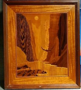 """Hudson River Multiple Woods Inlay Marquetry Soaring Eagle Signed/Nelson 19""""x24"""""""