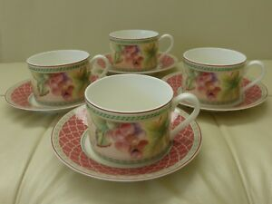 FITZ & FLOYD SONOMA SET OF 4 CUPS AND SAUCERS