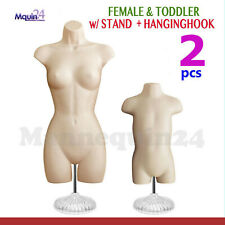 2 Mannequin Torsos -Set of Flesh Female & Toddler Body Forms 2 Stands +2 Hangers