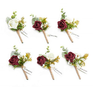 Ling's moment Burgundy Boutonniere for Men Boutonnieres for Wedding Red with Set