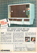 PUBLICITE ADVERTISING 055  1966 ARMOIRE DE CUISINE MAJORETTE catalogue 3 SUISSES
