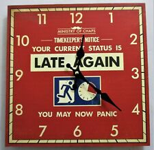Large Square 'Late Again' Wooden Wall Clock. 30cm square