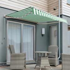 2.5m Garden Patio Half Cassette Manual Awning Used Green and White Even Stripe