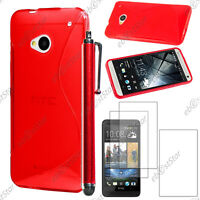 Housse Etui Coque Silicone S-line Gel Rouge HTC One M7 + Stylet + 3 Film écran