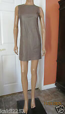 VINCE Lambskin Leather Sleevless Shift Dress Oak Size 6 NWT $895