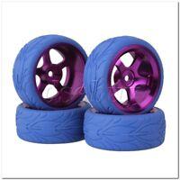4x RC1:10 On Road Car Purple  Al 5 Spoke Wheel Rim & Blue Fish Scale Rubber Tyre