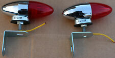 Custom Bullet Rear Tail Light 6 Volt Red Lens Brackets Included Chopper New #256