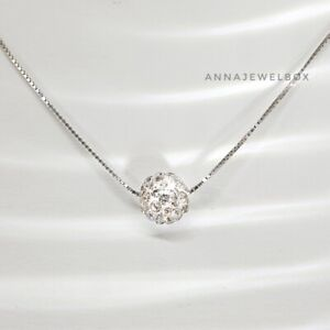 Genuine 925 Sterling Silver Cubic Zirconia CZ Crystal Ball Charm Necklace Gift