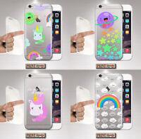 Cover per,Iphone,TRASPARENTE,silicone,morbido,PIANETI,UNICORNO,ARCOBALENO