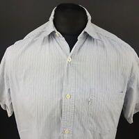 Levi's Mens Vintage Shirt MEDIUM Short Sleeve Blue Regular Fit Striped Cotton