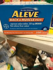 Aleve Back & Muscle Pain 220 mg 200 Tablets 12 Hour Relief Exp 3/2022