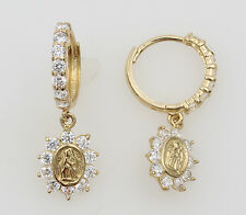 14K Yellow Gold Hanging Our Lady Guadlupe CZ Huggies Earrings for Baby