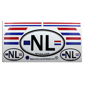 Set of 9 Netherlands flags & NL car country sign Laminated Decals Stickers
