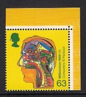 GB 1999 sg2072a Inventors Tale Computer Head 63p perf 13½x14 booklet stamp MNH