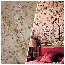 SALE! 100% Silk Taffeta Interior Design Fabric Embroidery Garden Taupe