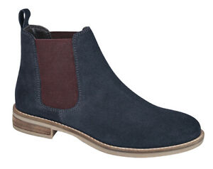 LADIES SUEDE ANKLE BOOTS TWIN GUSSET NAVY 3 - 9