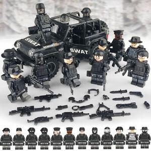 SWAT Auto+POLIZEI Militär Mini Figuren Waffe SSSoldier Army Fit Lego Spielzeug