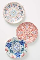 "Anthropologie Nesma 8"" Dessert Plate NIB Dragonfly Mint Color Set of 8"