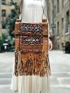 BEADED TASSEL LEATHER Bag Large Hippie Fringe Purse Native American Western Boho