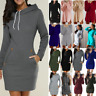 Women's Long Sleeve Hoodie Sweatshirt Baggy Pullover Sweater Jumper Mini Dress