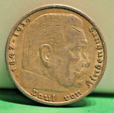 1936 A 5 Mark German WW2 Silver Coin (1) Third Reich Swastika Reichsmark