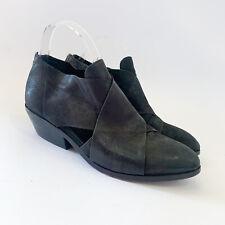 Eileen Fisher Cluster Black Leather Crisscross Zip Ankle Booties, Women's 7.5